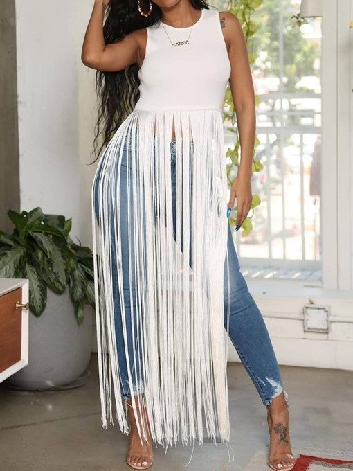 Ericdress Polyester Summer Tassel Long Tank Top