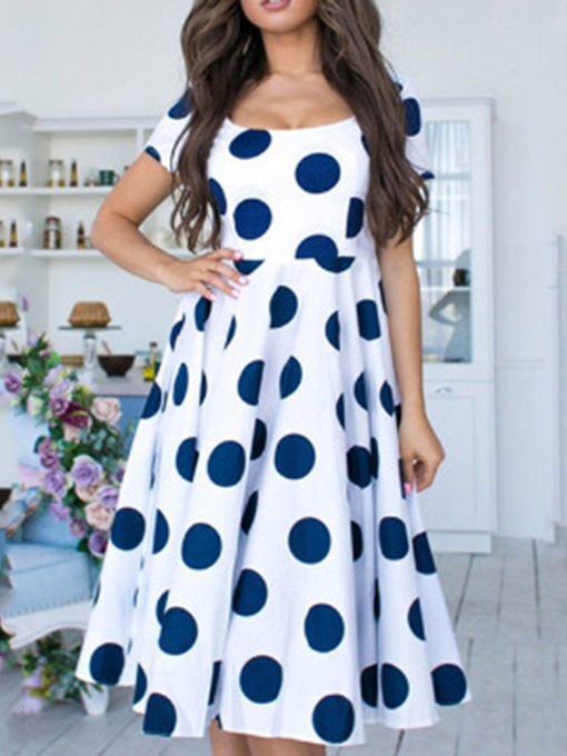 Ericdress Round Neck Short Sleeve Polka Dots Going Out A-Line Dress