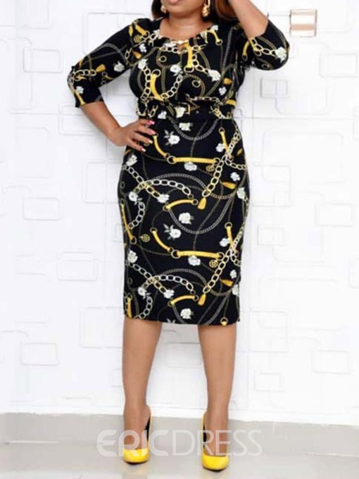 Ericdress Belt Three-Quarter Sleeve Round Neck Mid Waist Ethnic Dress
