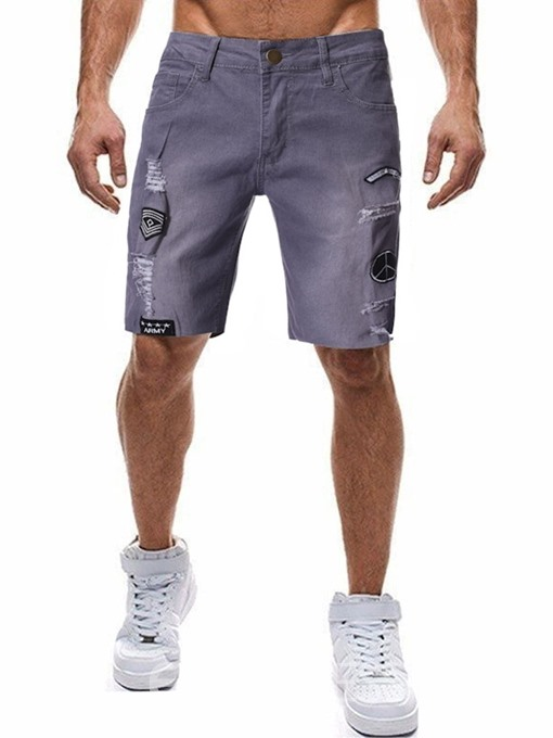 Ericdress Pocket Letter Straight Zipper Mens Sports Shorts