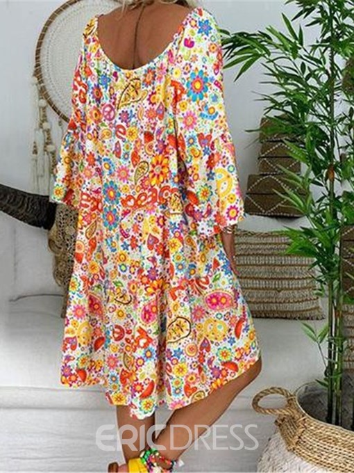 Ericdress V-Neck Floral Above Knee Straight Casual Dress