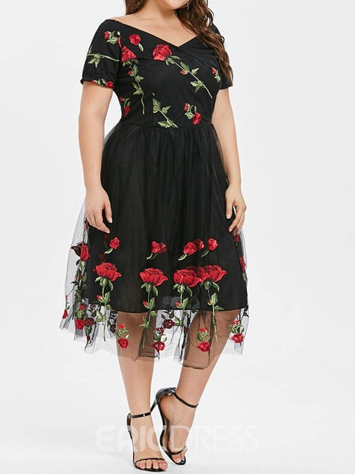 Ericdress Plus Size V-Neck Print Short Sleeve Sweet A-Line Dress