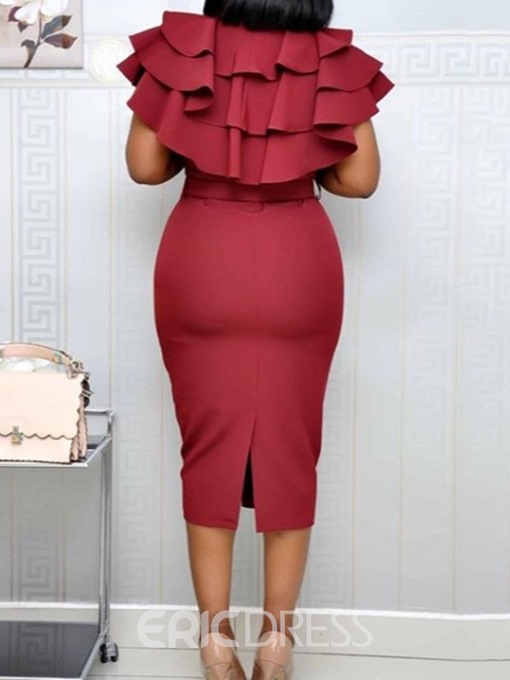 Ericdress Split Short Sleeve Mid-Calf Plain Ruffle Sleeve Bodycon Dress