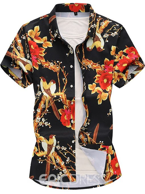 Ericdress Lapel Fashion Print Single-Breasted Mens Summer Shirt
