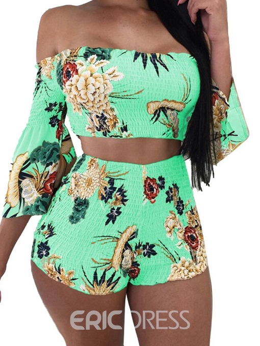 Ericdress Floral Print Off Shoulder Travel Look T-Shirt And Shorts Two Piece Sets