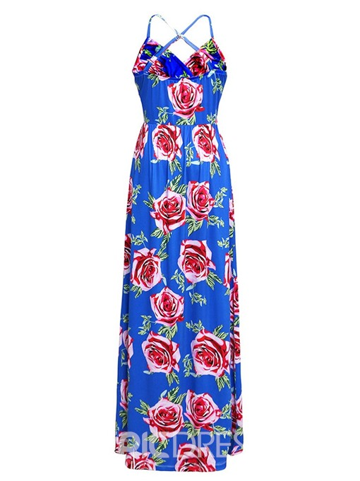 Ericdress Floor-Length V-Neck Print Plant Mid Waist Backless Dress