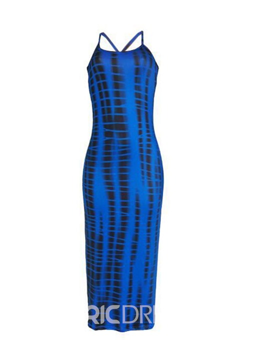 Ericdress Print Backless Mid-Calf Sexy Spaghetti Strap Pencil Dress