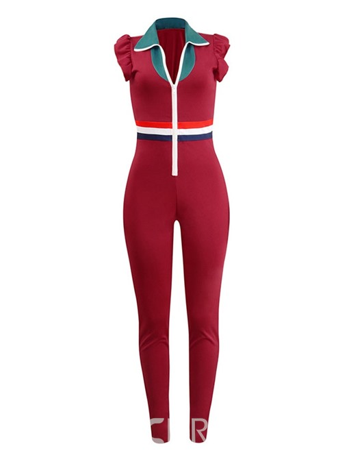 Ericdress Color Block Zipper Ruffles Slim Jumpsuit
