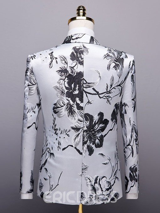 Ericdress Floral Single-Breasted Notched Lapel Mens Blazers