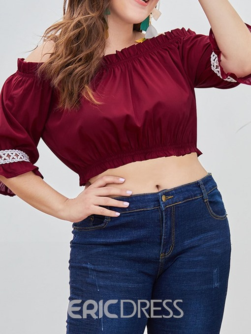 Ericdress Off Shoulder Pleated Plus Size Short Blouse