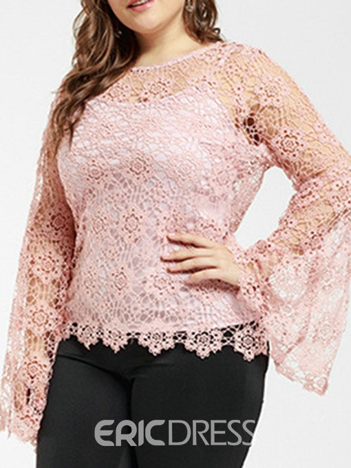 Ericdress Lace Hollow Plus Size Flare Sleeve Blouse