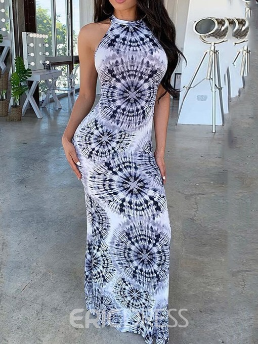 Ericdress Floor-Length Print Geometric Bodycon Standard-Waist Dress
