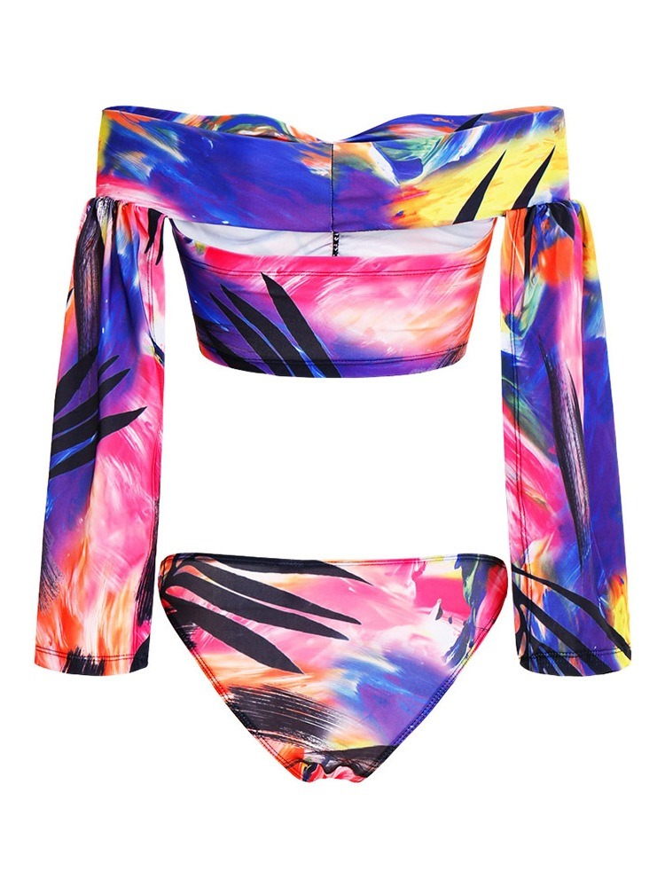 Ericdress Stretchy Color Block Print Swimsuit