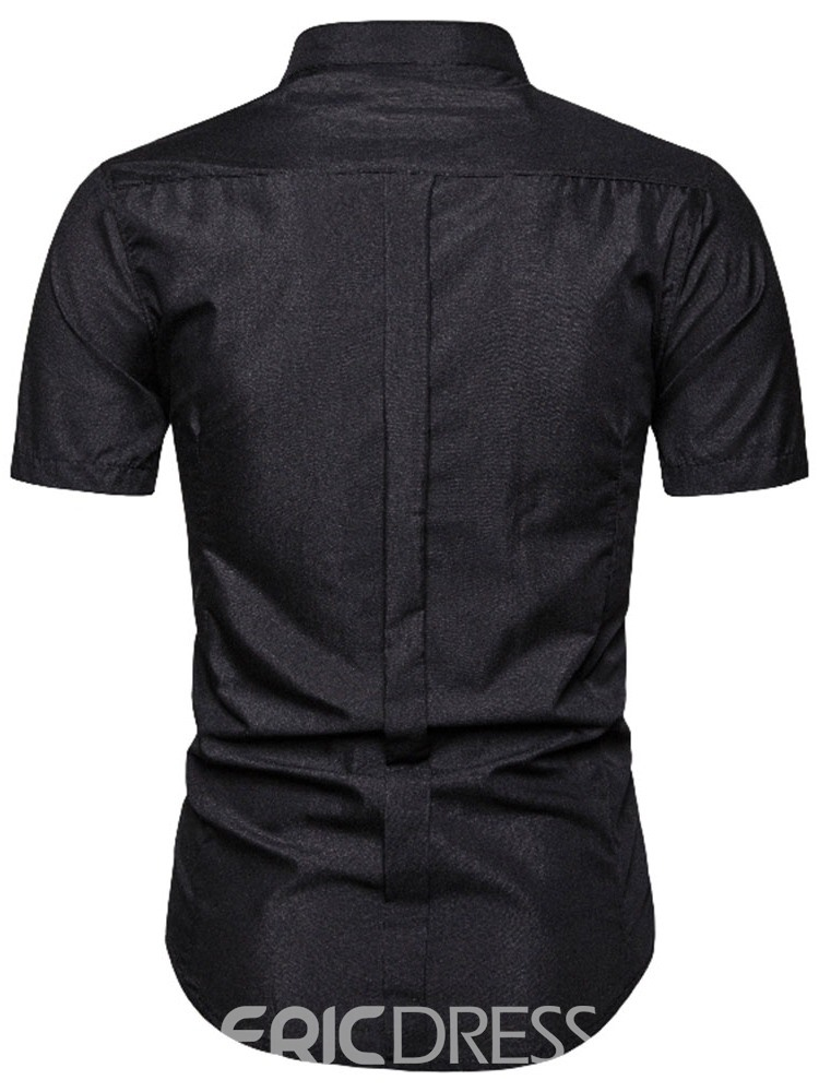 Ericdress Casual Pleated Plain Spring Mens Single-Breasted Shirt