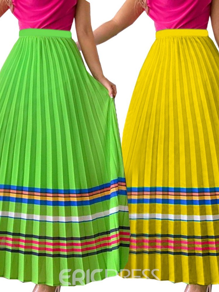 Ericdress Ankle-Length Pleated Color Block Skirt