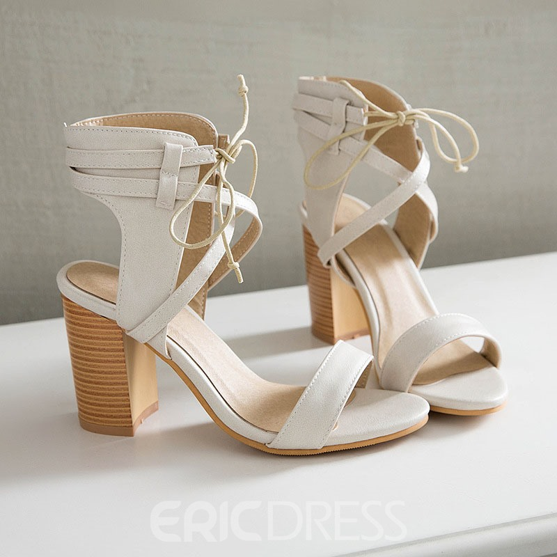 ericdress bout ouvert lacets sandales à talons chunky