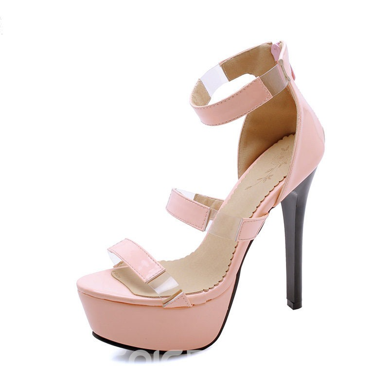 Ericdress PU Open Toe Heel Covering Zipper Stiletto Heel Women's Sandals
