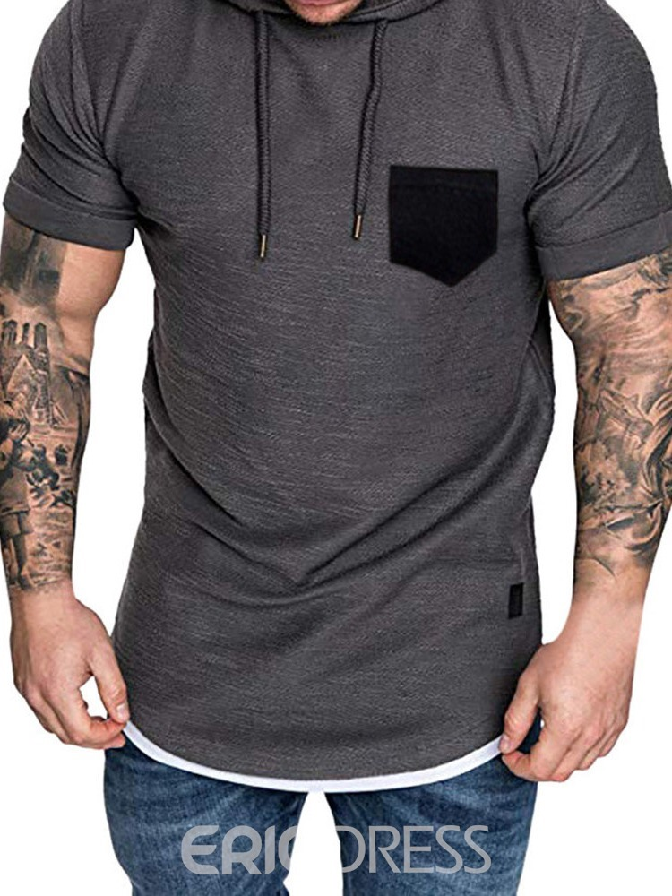 Ericdress Casual Color Block Hooded Mens Loose T-shirt