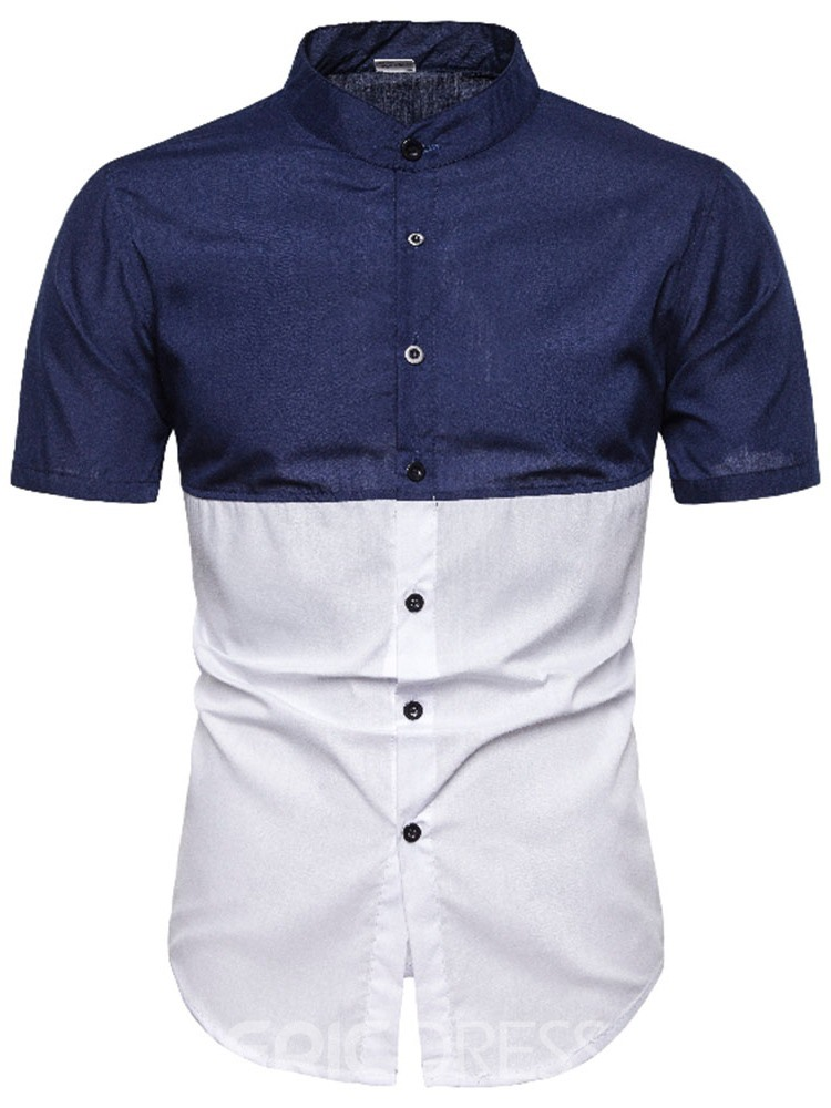 Ericdress Button Fashion Color Block Mens Single-Breasted Shirt
