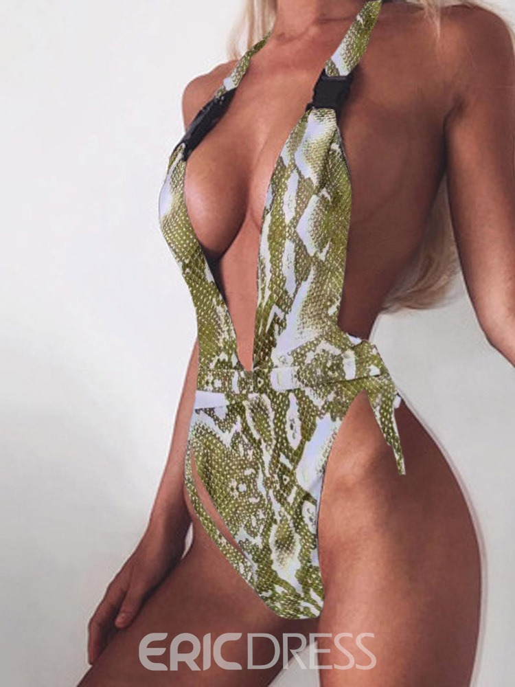 Ericdress Color Block lace-Up Print Sexy Swimsuit