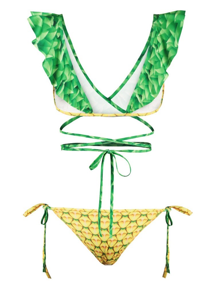 Ericdress Lace-Up Fruit Print Sexy Swimsuit