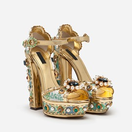 Ericdress Rhinestone Floral Chunky Heel Women's Prom Shoes