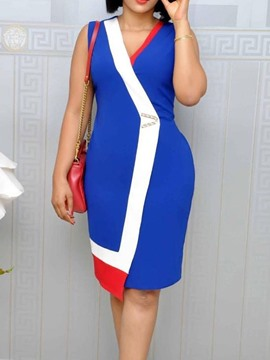 Ericdress Sleeveless V-Neck Knee-Length Asymmetrical Color Block Dress