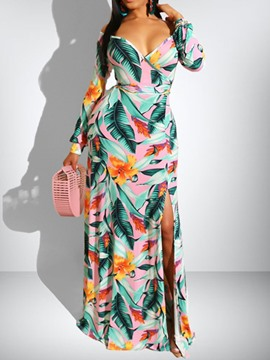 Ericdress Floor-Length Split Long Sleeve A-Line Plant Dress