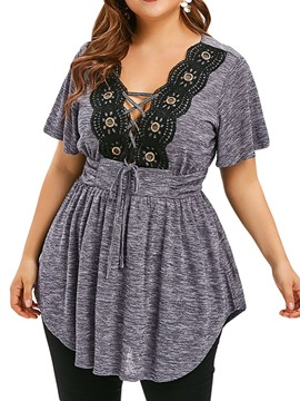 Ericdress Patchwork Lace-Up V-Neck Plus Size T-Shirt