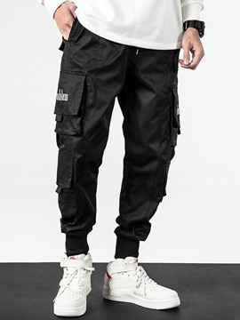 Ericdress Pocket Thin Letter Lace-Up Mens Casual Pants