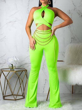 Ericdress Plain Slim Bellbottoms Sexy Jumpsuit