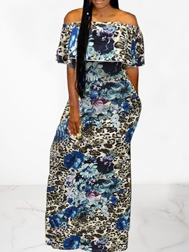 Ericdress Floor-Length Print Half Sleeve Off Shoulder A-Line Dress