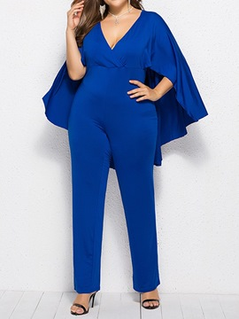 Ericdress Plus Size Cape Plain Slim Jumpsuit