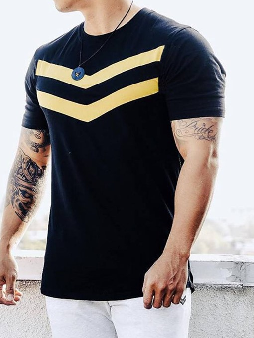 Ericdress Round Neck Color Block Casual Mens Loose T-shirt