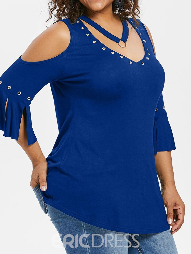 Ericdress Plain Hollow V-Neck Plus Size Casual T-Shirt