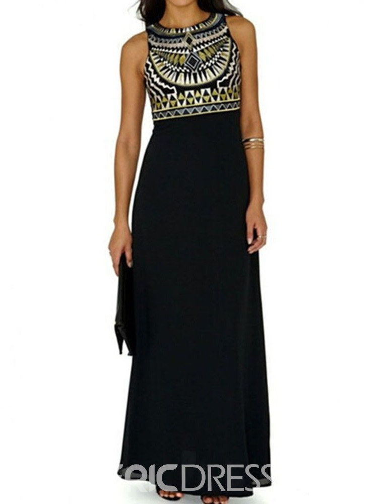 Ericdress African Fashion Round Neck Sleeveless Casual A-Line Dress