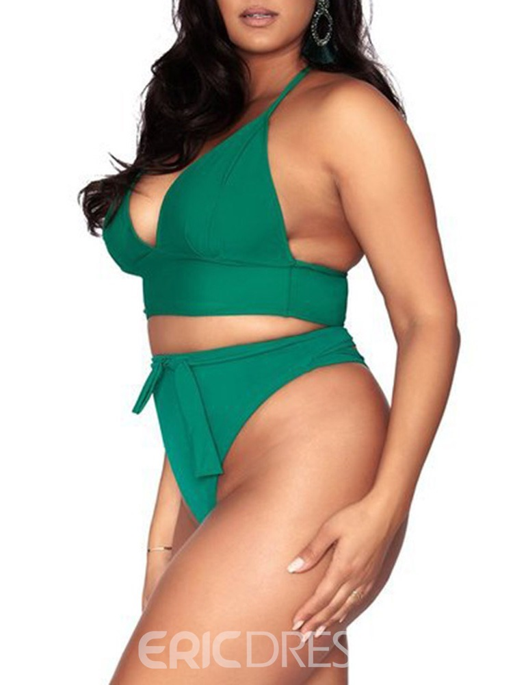 Ericdress Lace-Up Bowknot Plus Size Swimsuit