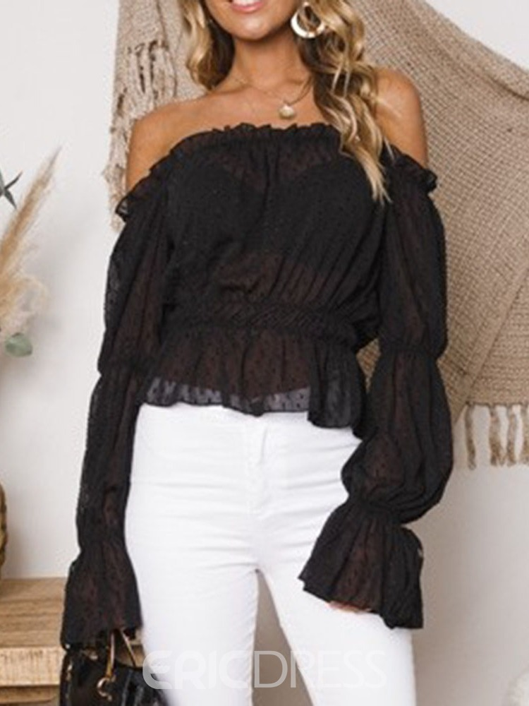 Ericdress Off Shoulder Plain Pleated Short Blouse