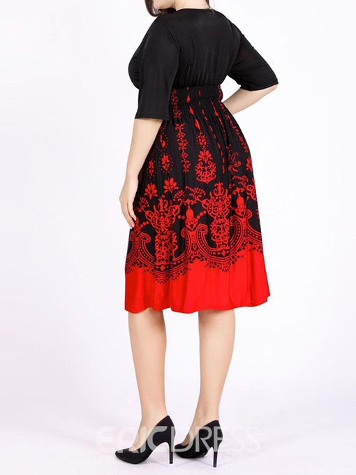 Ericdress Plus Size Print V-Neck Half Sleeve A-Line Elegant Dress