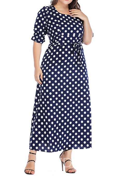 Ericdress Plus Size Lace-Up Round Neck Half Sleeve Elegant Polka Dots Dress