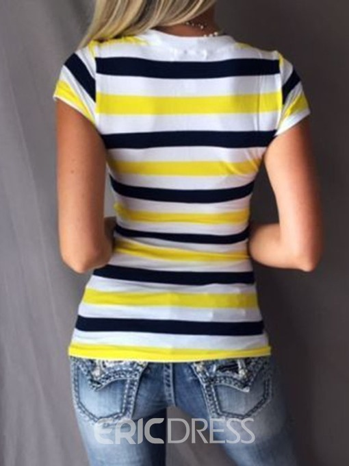 Ericdress Short Sleeve Stripe Casual T-Shirt
