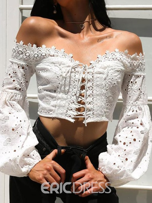 Ericdress Hollow Lantern Sleeve Lace-Up Blouse