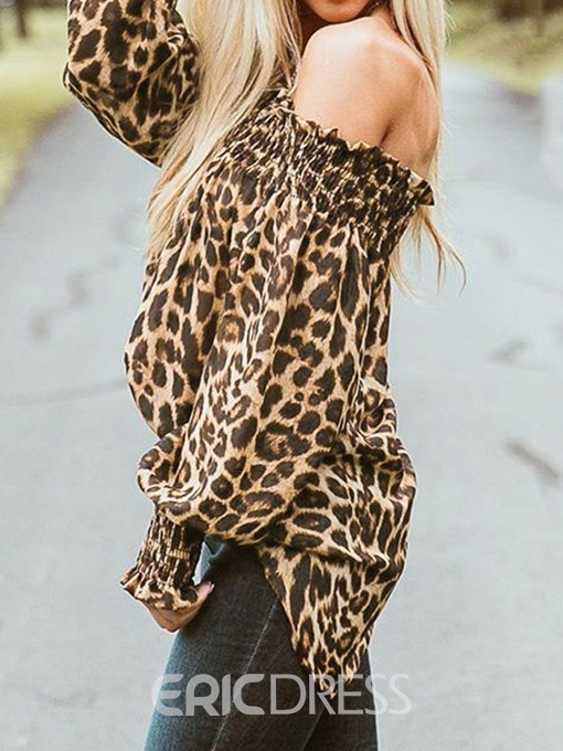 Ericdress Pleated Leopard Off-Shoulder Fashion Blouse