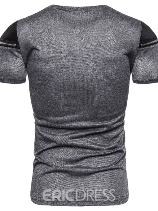 Ericdress Casual Zipper Color Block Slim Mens T-shirt