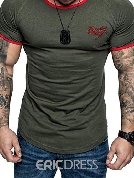 Ericdress Round Neck Color Block Mens T-shirt