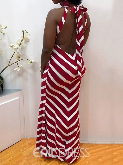 Ericdress Backless Sleeveless Round Neck A-Line Stripe Dress