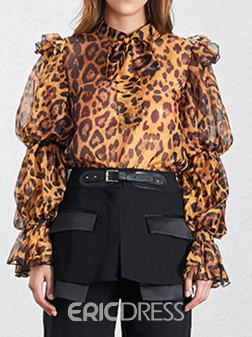 Ericdress Stringy Selvedge Leopard See-Through Blouse