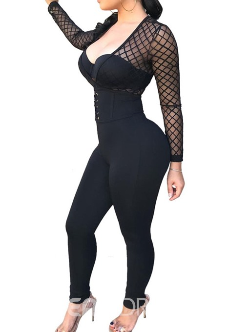 Ericdress Plain See-Through Skinny Sexy Lace-Up Jumpsuit