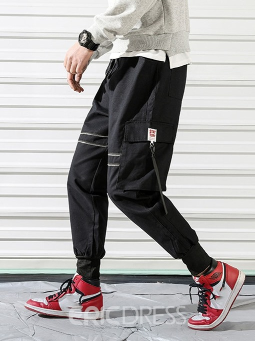 Ericdress Plain Zipper Overall Lace-Up Mens Casual Pants