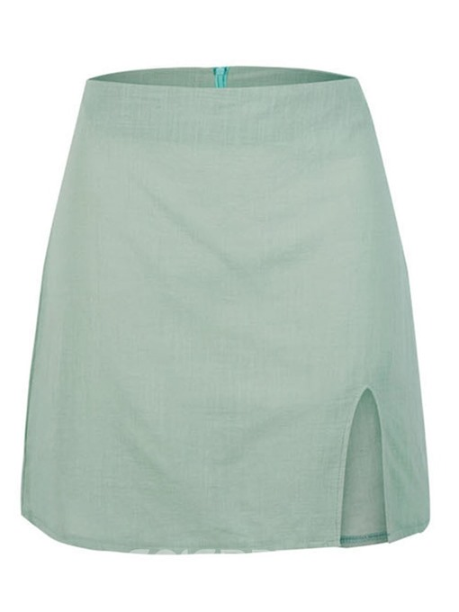 Ericdress Plain A-Line Split Mini Skirt